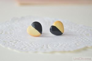 Black Chocolate Heart Biscuit Ear studs by Unicharms
