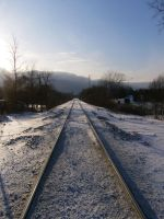 Winter Railway into Clouds by nizati