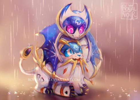 Solgaleo + Lunala by RoyalNoir