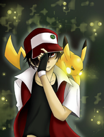 Red and Pikachu by Hikari-15-L