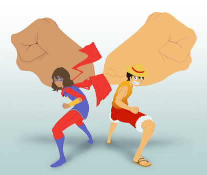 Ms. Marvel and Luffy // Commission by Lightrail