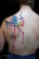 Watercolor splash tattoo by JayFreestyle
