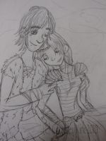 Hiccup and Astrid by Roachbreath