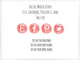 Social Media Icons-Red Watercolor PNGs by K-Roks-G