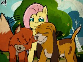 The fox, the hound... and Fluttershy. by mr4500k