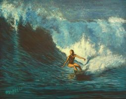 Surfer Girl my painting by cliford417