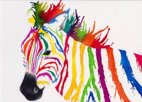 Colour Drip Zebra by WhereIsJambon