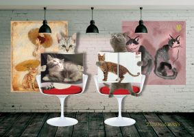 chats de ville   greeting card design by DavidKessler1
