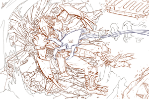Wargreymon fight outlines by Mobblthecrazy