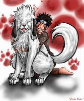 Kiba and Akamaru ''timeskip'' by Lithe-Fider