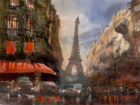 The Last Sunlight Over Paris, 47x63cm by NiceMinD