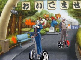 Godot and Von Karma on Segways by LitaMaxwell