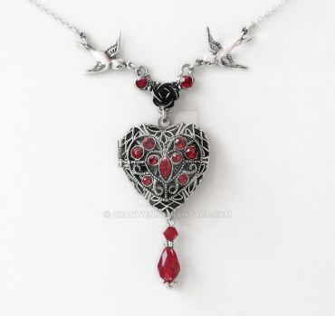 Red Swarovski Heart Locket by Aranwen