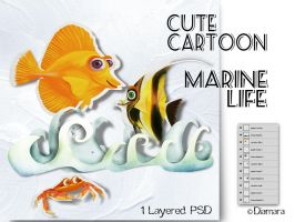 Cute Cartoon Marine Life by Diamara