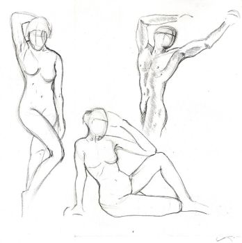 3 min gesture drawings by dawberdesigns