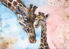Giraffes family by GeorgeArt23