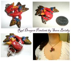 Red Dragon Serpent with Key necklace pendant by Brisbykins