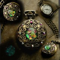Steampunk Pocket Watch - Rainbow Aqua Green by LadyPirotessa