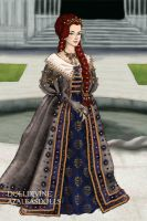Red Queen of Throndell in blue and grey by Yagellonica