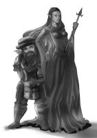 wip: dwarven knight n elven mage by unrealsmoker