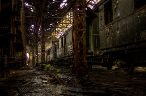 Istvantelek Train Graveyard - The Trains by FlawlessMonkey
