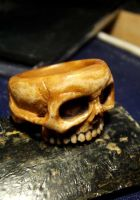 Woman's skull ring, carved in Antler. by indigartistic
