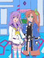 Nepgear and IF by Riczilla364