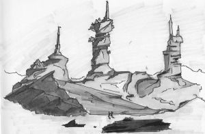 Copic Marker Sketch: Rock Formation 2 by mmarra12