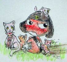 Giroro and cats by Windymon