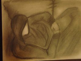 sketch of homeless man in box by wing-giver