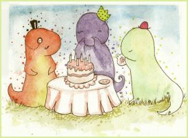 T-Party Rex _greetings card by Maddiox