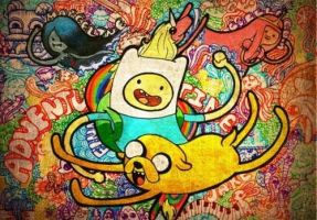 Adventure Time with Finn and Jake by PunchAllYourBuns
