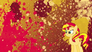 Sunset Shimmer Splatter Wallpaper by brightrai
