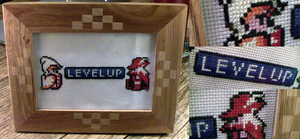 'Level Up' Final Fantasy Inspired Cross-Stitch by spektijim
