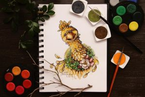 Watercolor - Christmas Chocobo by barananduen