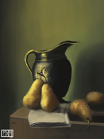 Pears and Jar - Still Life Study by RavenousFire