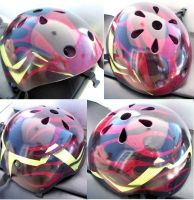 Red Flamed Bike Helmet by MJP67