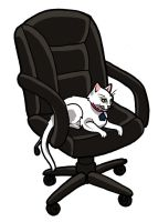 My cat in the computer chair by thedanika