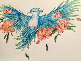 Blossoming blue bird by Nixola98xxx