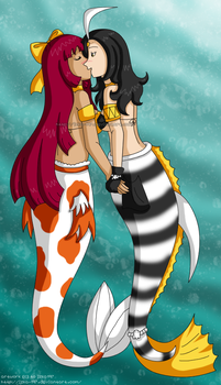 [Commission34] Mermaids yuri Umiko x Nami by izka-197