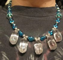 Blue and silver Crystal Caste dice necklace by BlackUnicornWood