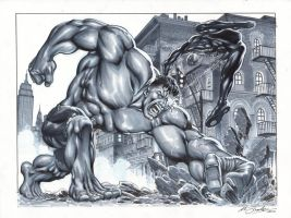 Hulk vs Superior Spiderman by mrno74