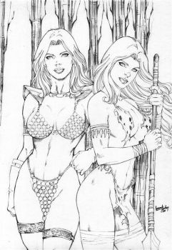 Red Sonja and Shanna by leonartgondim