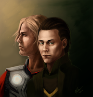 Loki and Thor by elz-art