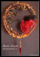 Scarlet Ibis suncatcher by illustrisdesigns
