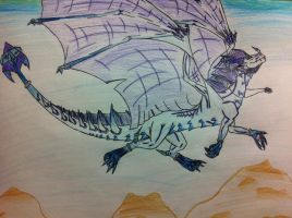 Flying Ice Dragon by queenfirelily17