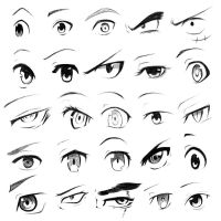 25 Manga eye warmup sketches by oneillustrates