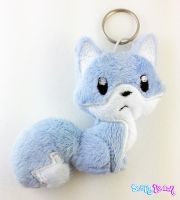 Blue and White Fox Plush Keychain by TheHarley