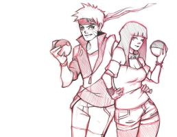 .:Pokemon Crossover NaruHina COMMISSION:. by BlissfulGold