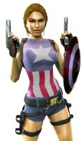 Lara Croft as Captain America 1 by moonrakerone